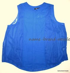 4f2e74b2512 APT 9  44 NWT Plus Size 3X 22 24 Bright BLUE Sheer Sleeveless Tank Top Shirt