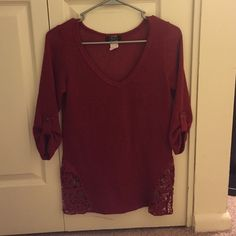 Quarter sleeve sweater Red, quarter sleeve sweater with cute sides Deb Sweaters