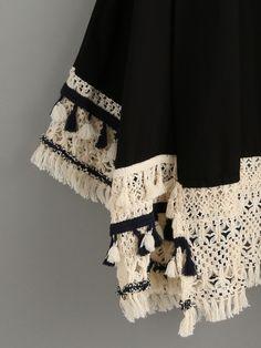 Shop Black Tassel Trimmed Kimono at ROMWE, discover more fashion styles online. Kurti Designs Party Wear, Bohemian Print, Russian Fashion, Hippie Outfits, Mode Hijab, Beachwear For Women, Pakistani Dresses, Simple Dresses, Tricot
