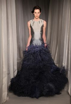 HOKUSAI DRESS (THE GREAT WAVE) - DEGRADE WOVEN SILK WITH AN OCEAN OF OSTRICH FEATHERS