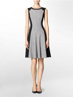 0d5de15d6de5 calvin klein womens houndstooth colorblock sleeveless fit + flare dress