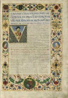 Cod. Lat. 346  Chrysostomus, Iohannes: Homiliae in epistolas S. Pauli  1485-1490 között. Firenze, Pergamen.