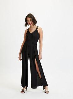 c1f949c2218 Womens Petite Black Lace V-Front Jumpsuit