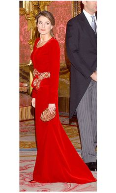 Talk about a lady in red! While she was crown princess, Queen Letizia of Spain showed she was ready for the most regal of looks in red velvet. The royal wore the jacket and skirt combination to receive ambassadors at the Royal Palace in Madrid back in 2005.