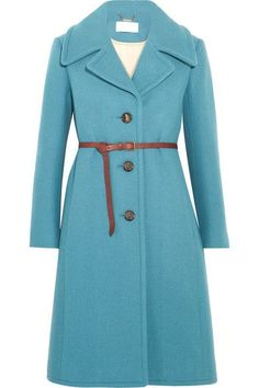 Cornflower-blue wool-blend Button fastenings through front 80% wool, 20% polyamide; belt: 100% leather (Calf); lining1: 100% viscose; lining2: 100% cotton Dry clean  Imported