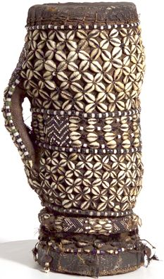 Africa | Kuba Drum. DR Congo | Wood, leather and cowrie shell beads