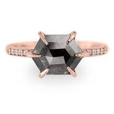 Carat unique geometric black diamond engagement ring pictured in rose gold. Also available in white & yellow gold o our website Engagement Ring Pictures, Vintage Engagement Rings, Diamond Engagement Rings, Wedding Engagement, Rose Cut Diamond, Black Diamond, Girly Things, Girly Stuff, Wedding Bands