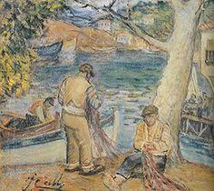 Fisherman by Turkish Impressionist Painter Ibrahim Çallı (1882-1960)