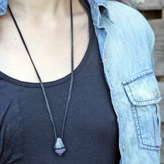 chaparral studio / amethyst crystal point on leather necklace