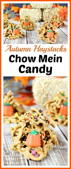 Haystacks Chow Mein Candy- A Cultivated Nest Autumn Haystacks Chow Mein Candy- This delicious no-bake candy is perfect for fall! Check out how easy it is to make this autumn haystacks chow mein candy! Mini Desserts, Easy No Bake Desserts, Cheesecake Desserts, Fall Desserts, Delicious Desserts, Easter Desserts, Strawberry Desserts, Health Desserts, Oreo Dessert