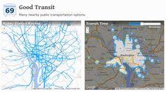 Washington DC Transit Map and Travel Time Visualization