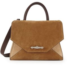 Givenchy Obsedia Top-Handle Small Suede Satchel Bag (21.671.040 IDR) ❤ liked on Polyvore featuring bags, handbags, beige multi, brown suede handbag, brown suede purse, beige purse, tan handbags and top handle satchel handbags