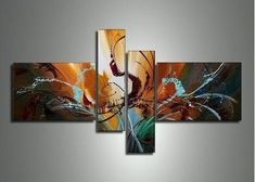 Modern Canvas Painting, Abstract Painting, 4 Piece Canvas Art, Abstrac – Grace Painting Crafts Contemporary Abstract Art, Abstract Wall Art, Modern Art, Painting Abstract, Abstract Lines, Abstract Landscape, Landscape Paintings, Textured Canvas Art, Large Canvas