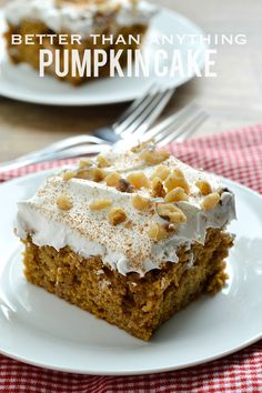 Love anything pumpkin spice? Then you are going to love this easy recipe for Better Than Anything Pumpkin Spice Cake that uses store bought spice cake mix and pumpkin puree and is soaked in condensed mix and caramel and topped with cool whip. It's truly better than anything!