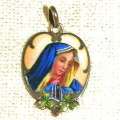 Antique Sterling Enamel Charm, Pendant, Madonna
