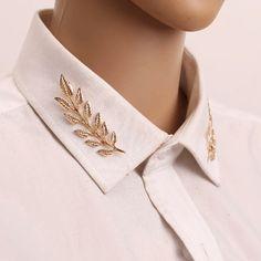 Brose pin frunza pentru gulerul camasii