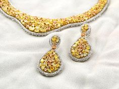 Yellow topaz and diamond necklace and earrings. Available at Amaris, Gulmohar Park, New Delhi and at The Pinnacle, Gurgaon; My Birthstone, Timeless Classic, Stone Jewelry, Birthstones, Wealth, Topaz, Crochet Earrings, Indian, Jewels