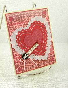 Handmade Valentines Day Card Zigzag Love by PaperCraftLady on Etsy