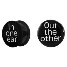 """Pair of """"In One Ear, Out the Other"""" Acrylic Screw-On Plugs (2G - 1"""") at FreshTrends.com"""