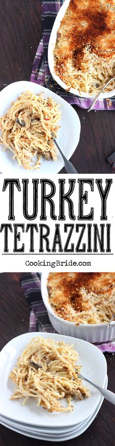 Turkey tetrazzini is a great way to use up Thanksgiving leftovers. The sauce is rich and creamy and the bread crumb topping is buttery and crispy.