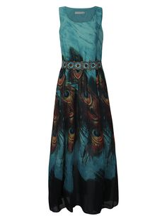Women Sleeveless O Neck Peacock Printed Maxi Derss Bohemian Summer Beach Dress Shopping Online - NewChic