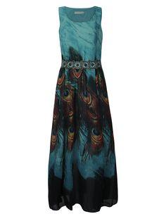 Women Sleeveless O Neck Peacock Printed Maxi Derss Bohemian Summer Beach Dress Shopping Online - NewChic