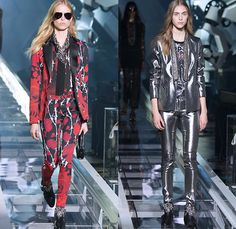 Philipp Plein 2016 Spring Summer Womens Runway Catwalk Looks - Milano Moda Donna Collezione Milan Fashion Week Italy Camera Nazionale della Moda Italiana - Denim Jeans Motorcycle Biker Rider Leather Embroidery Adornments Bedazzled Metallic Studs Sheer Chiffon Tulle Outerwear Shorts Blouse Tuxedo Jacket Pantsuit Destroyed Destructed Vest Waistcoat Heavy Metal Barbed Wire Roses Hoodie Fringes Eveningwear Gown