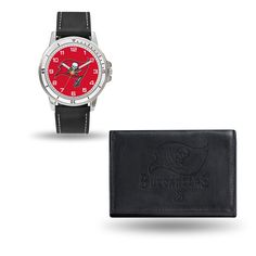 Tampa Bay Buccaneers Watch and Black Leather Wallet Set