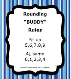 "The ""buddy"" rounding rule works by finding the number you are rounding to. Look at its ""buddy"" to the right, and follow the poster for what to do! There are two different posters to choose from. FREE"