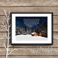 Winter Art Print, Edith Sitwell quote, winter photography, snow photo, cabin decor, rustic decor, winter snow art, winter is the time quote by Parachute425 on Etsy