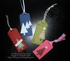 Gift tag designs using Festival of Trees stamp set and matching punch from Stampin' Up!®.  http://tracyelsom.stampinup.net