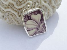 Sterling Silver Broken China Pendant Mulberry by MaroonedJewelry, $35.00