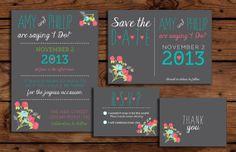 Custom Wedding Floral and Chalkboard Invitation Bundle // by RememberNovemberShop, $28.00