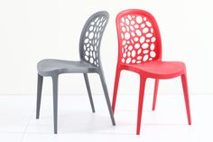 A stackable chair with interesting hole cut-outs that give this chair a futuristic-feel. Chuck is a comfortable chair with its mid-height back support and curves at important places. Comfort Design, Stackable Chairs, Colorful Furniture, Side Chairs, Furniture Design, Home Decor, Decoration Home, Room Decor, Side Chair