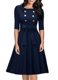 Miusol Women's 3/4 Sleeve Classy Casual Belted Vintage Retro Evening Swing Dress Navy Blue Medium