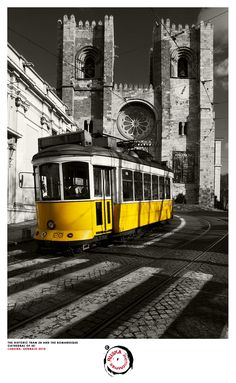 The historic tram 28 and the romanesque cathedral of Sé; Lisbon; Portugal