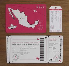 Leuk voorbeeld van een uitnodiging in het Reis thema. Meerdere voorbeelden zijn er te vinden op de site: http://www.goldfinchdesign.co.uk/weddinginvitations/boardingpass-airlineticket/