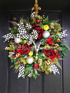 ON SALE ON Sale! 20% Off MacKenzie Childs Inspired Christmas Wreath, Christmas Door Wreaths, Christmas Wreaths, Courtly Check, House Warmin - $269.96 USD