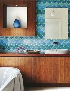 Color mix of tiles against warmth of wood   Inspiration Gallery: The Modern Bath