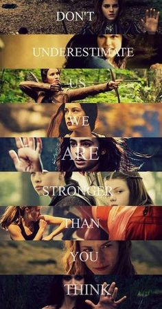 Tris (Divergent) Katniss (hunger games), Lucy pevensie (narnia) hermoine granger (harry potter) percy jackson, the mortal instruments. Percy Jackson, Book Memes, Book Quotes, Harry Potter, The Hunger Games, Citations Film, We Are Strong, Strong Women, Film Serie