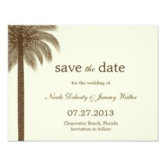 Palm Beach Wedding Save The Date Cards - Brown