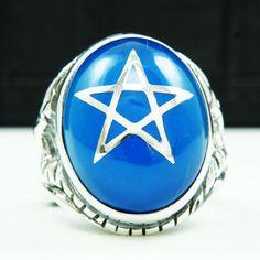 OVAL BLUE TOPAZ CZ STAR 925 STERLING SILVER US SIZE 12 MEN'S BIKER RING jo-r010