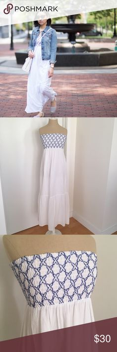 """LOFT Embroidered Strapless Maxi Dress Worn once and in excellent like-new condition with no stains or other signs of wear. Size SP fits like XSP or even XXSP since the bust runs small (I'm 32A). For reference I'm 5'2"""". Care tag suggests dry clean but it is 100% cotton. First picture is from my blog (whatjesswore.com) for styling purposes only. LOFT Dresses Maxi"""
