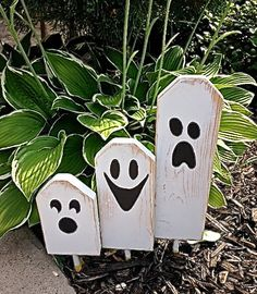 Fun, Spooky and Cute all in one trio of halloween ghostly characters. Three different sizes of wood blocks with hand painted faces. Blocks are