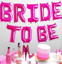 Bride To Be Pink Mylar Balloons