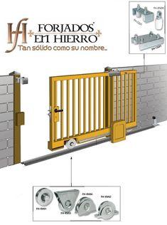 Iron Gate Design, House Gate Design, Modern House Design, Sliding Gate, Sliding Door Hardware, Modern Entrance, Entrance Gates, House Front Gate, Diy Gate