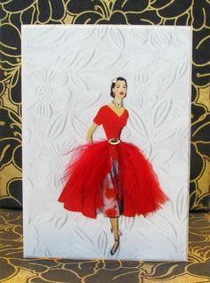 Beautiful White Embossed Card...with lady in red dress...with netting.