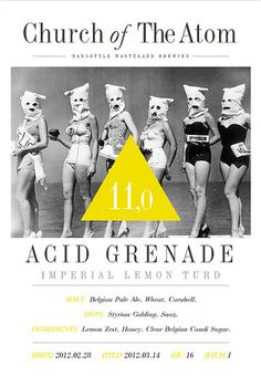 Acid Grenade - Imperial Lemon Turd |Belgian style lemon dessert. Chest-warmingly sweet. A medium-to-full bodied crispy boozy sugar-rush with mild sour subliminal tones. Recommended together with desserts, or just great as a dessert by itself. Adult yummi yummi. Belgian Pale Ale, Nano Brewery, Belgian Style, Beer Brands, Lemon Desserts, Sugar Rush, Medium, Awesome, Sweet