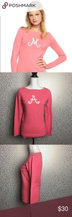 "Lilly Pulitzer Monogram Pullover Sweater ""A"" Med Excellent preloved condition. No holes, stains or odors. Pretty in pink Lilly Pulitzer Monogram Sweater. Measurements taken across laying flat  Armpit to Armpit: 16"" Waist: 15"" Length: 24"" Lilly Pulitzer Sweaters Crew & Scoop Necks"