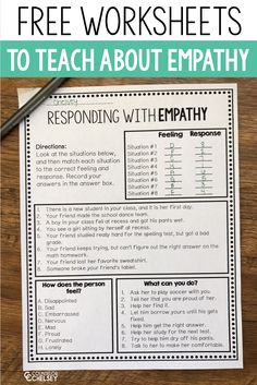 These print and go empathy worksheets are perfect for helping students understand what empathy is and how they can respond empathetically to the feelings of others! These are great to use in your friendship or social skills lessons! Social Skills Lessons, Social Skills Activities, Counseling Activities, Coping Skills, Life Skills, Elementary School Counseling, School Social Work, School Psychology, Psychology Resources